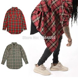Wholesale Flannels Clothing - Wholesale- 2016 Spring Fall Plaid Shirts Long Sleeve Slim Fit Comfort Soft Flannel Cotton Shirt Leisure Style Man Clothes FEAR OF GOD wear
