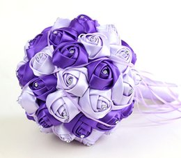 Wholesale Fake Petals - Purple Red Artificial Wedding Flower Bouquets Handmade Rose Crystal Bridal Flower Bouquets High Quality Fake Silk Flowers Petals CPA819