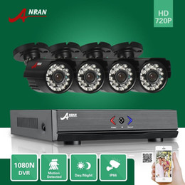 Wholesale Home Security System Video - ANRAN 4CH HDMI 1080N AHD DVR Waterproof HD 1800TVL 24IR Day Night Video Camera CCTV Home Surveillance Security System