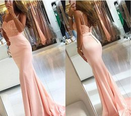Wholesale Blush One Shoulder Dress - 2017 Newest Blush Lace- ppliques Mermaid Prom Dresses Sexy Sleeveless Spaghetti Straps Evening Gowns Bridesmaid Dresses Custom