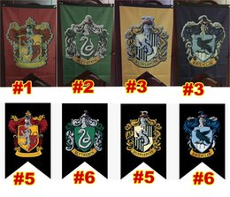 Wholesale Harry Potter Wall - Wholesale-Harry Potter Gryffindor Flag Hogwarts College party Flag 75x125cm Harry Potter house wall decoration Banner Flags