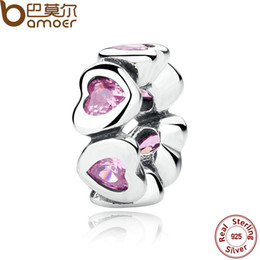 Wholesale Charming Sparkles Jewelry - Pandora Style REAL 925 Sterling Silver FANCY PINK SPARKLING HEARTS SPACER CHARM Fit Charms Bracelet Women Fine Jewelry PAS303