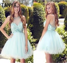 Wholesale Sexy Female Image - 2017 Light Sky Blue Mini Short Homecoming Dresses A Line Jewel Sleeveless Zipper Comfortable Chiffon Female