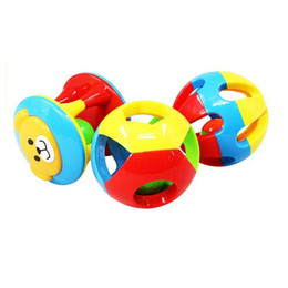 Wholesale little plastic balls - Wholesale- 3Pcs Set Baby Fun Little Loud Jingle Ball Ring Develop Baby Intelligence,Training Grasping Ability Rattles Baby Toys 0-12 Months