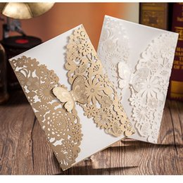 Wholesale Lace Cut Out Paper - Wholesale- Butterfly Design Laser Cut Lace Flowers Blank Greeting Hollow Out Wedding Invitations Paper Baby Shower Cards Party Decoration