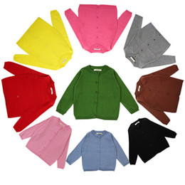 Wholesale Kids Red Coats - 10colors Kids Boy Girl Knitted Sweater for 1-6T Spring Autumn Single-Breasted Clothing Sweaters Baby Girls Cardigan Knitwear