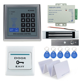 Wholesale Magnetic Lock Control - Wholesale- A Complete set of RFID Door Access Control System Kit Set With Lock RFID keypad+power+magnetic lock+door exit+keys free shipping