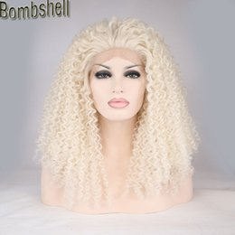 Wholesale Kinky Lace Front Wigs Stock - Bombshell White Blonde Afro Kinky Curly Synthetic Lace Front Wig Glueless Heat Resistant Fiber Natural Hairline For Black White Women Stock