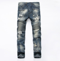 Wholesale Hiphop Beads - 2017 Famous Distressed patches Biker Cargo Jeans stretch Demin jeans Hiphop Cropped Pants with Extreme ripped Straight Plus size 28~42