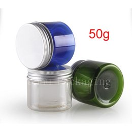 Wholesale Colored Plastic Bottles - 50g colored empt round cosmetic cream PET jars ,1.75 oz clear cream containers for cosmetics packaging,50g empty plastic bottles