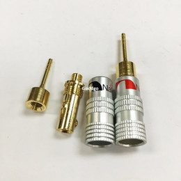 Wholesale Locking Rca Plug Gold - 10Pcs\Lot High Quality New 24K Gold Nakamichi Speaker Pin 2mm Banana Plugs Straight Speaker Wire Screw Lock Connector