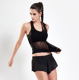 Wholesale Vest Colour - The new summer stretch Yoga jacket sexy mesh stitching hollow back professional running vest Fashion sports vest