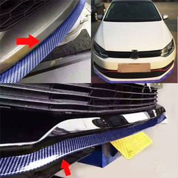 Wholesale bumper truck - 8.2 ft Universal Carbon Fiber Front Bumper Spoiler EPDM Rubber Anti-scratch Lip Splitter Bumper for Cars Trucks SUV