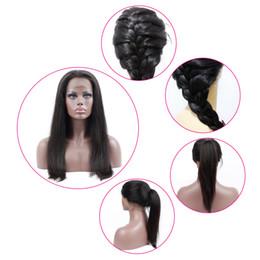 Cheveux péruviens de 18 pouces bon marché en Ligne-Perruques de cheveux humains brésiliens pour les femmes noires avant de lacet perruque péruvienne indienne Mayalian cheveux perruques couleur naturelle pas cher prix 10-24 pouces