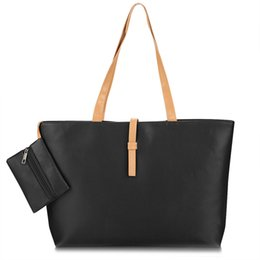 Wholesale Buys Tote Bags - Wholesale- Fashion Women Big Capacity Handbag Casual Solid One Big + One Small 2pcs Woman Bag Shoulder Bag PU Leather Worth to Buy