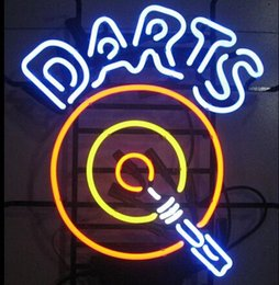 "Wholesale Neon Sign Game - Darts Dartboard Arrow Neon Sign Custom Handmade Real Glass Pub Store Gameroom Game Club Display Neon Signs 17""X14"""
