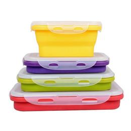 Обед питание онлайн-складной силиконовый обед для пикника на открытом воздухе Портативный ковш или контейнер для хранения пищевых продуктов емкостью 350 мл 540 мл 800 мл 1200 мл h127