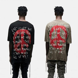Wholesale Designer Urban - World Peace Freedom Print Short Sleeve T shirt Harajuku Hipster KhakiBlack Hip Hop Urban Oversized Designer Graphic Tee Kpop shirts for men
