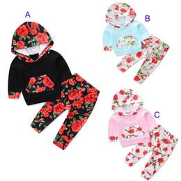 Il modello di fiore ansima lo stile online-3 Stili Baby Christmas INS suits Completi di fiori Stampa Outfit Autunno Inverno Toddle Cute set Long Sleeve con cappuccio Top + Pantaloni 2 pezzi Set B
