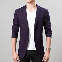 Wholesale Men Boys Slim Fit Suits - Wholesale- Men plus size Casual blazer jackets 2017 Spring Cotton blended plaid Slim fit Small blazers coats suits Men Skinny jacket boys
