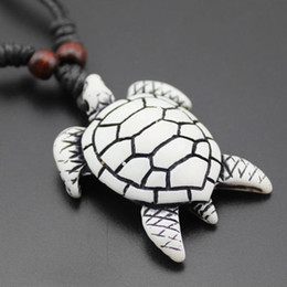 wholesale carved wood pendants Promo Codes - Wholesale 12PCS Cool Imitation Yak Bone Carving Hawaiian Surfing Sea Turtles Pendant Wood Beads Cord Necklace Lucky Gift