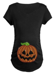 Wholesale Shining Woman Shorts - Women Pumpkin T-shirts Casual Funny Maternity Halloween Shining Smilely Printed Tops Women Pregnant Nursing Tops Maternity Clothes