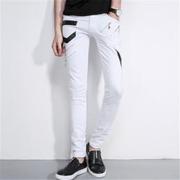 Wholesale Jeans For Large Men - Wholesale- 2016 White fashion Men Jeans Homme Unique Man Printing Jeans High Quality Cotton Large Skinny Jeans For Men Denim Pants