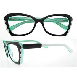 Wholesale Italy Brand Bag - wholesale oval unique design green purple red wave patten italy brand designer women optical eyeglasses frames