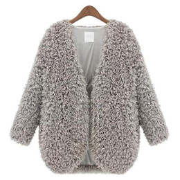 Wholesale Womens Ponchoes - Wholesale- 2015 Autumn Winter Newest Female Lambs Wool Coat Shawl Fashion Womens Capes And Ponchoes Ladies Vintage Warm Costs