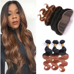 Wholesale Ombre Silk Base Closure - Medium Auburn Ombre Silk Base 13x4 Lace Frontal Closure With 3Bundles Body Wave Ombre 1B 30 Human Hair Wefts With Silk Top Frontal