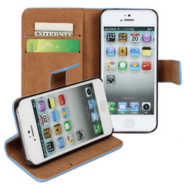 Wholesale Iphone 5c Credit Card - For iphone 8 7 6s Plus 5c 5s Genuine Leather Wallet Credit Card Cash Holder Stand Case Cover For Samsung Galaxy S6 S7 Edge