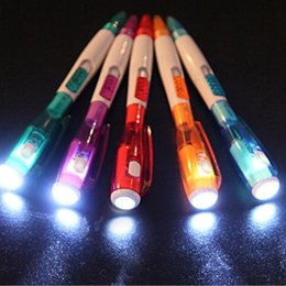 Wholesale Multi Purpose Office - Special! Factory Direct South Korea Cute Creative Stationery Novelty Band Led Light Flashlight Multi-Purpose Ball Pen 12 pcs