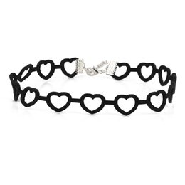 Wholesale Black Hippy - Fashion Korean Cashmere Choker Necklace Hollow Heart-shaped Charms Necklace Female Romantic Gifts Women Short Necklace Vintage Hippy Jewelry
