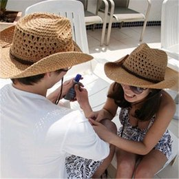 Wholesale Coffee Gardens - straw hats straw hat for women and men, cowboy lovers summer beach sun hat, Khaki, coffee, beige