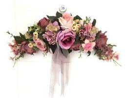 Wholesale Mirror Garlands - Wholesale-Purple Rose Artificial flowers Door lintel Flower Mirror Flower garland wreath wedding flower Background props Free shipping