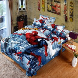 Wholesale Spiderman Queen Comforter - 2016 New 3D Printed Spiderman Kids Bedding Set for Boys Teen 100% Cotton 4 pcs Duvet Cover Flat Sheet with 2 Pillowcases