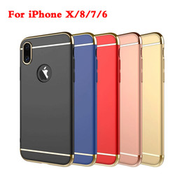 Wholesale Iphone Frosted - For iPhone X 8 case Samsung Note 8 S8 S7 S6 Edge 3 in 1 Matte Frosted Slim Shockproof Electroplating Hard Plastic Back Cover
