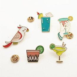 Wholesale Parrot Clothes - Wholesale- ShuangShuo Cute Parrot Birds Summer Drink Metal Brooch Pins Clothes Button Pins Fashion Jewelry Wholesale