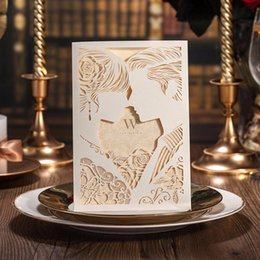 Wholesale Groom Bride Wedding Invitation Card - Romantic Ivory Laser Cut Couples Lovers Wedding Invitations Elegant Hollow Groom & Bride Engagement Cards Wishmade CW010