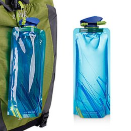 Wholesale Gold Water Bottles - Fashion Flexible Collapsible Foldable Drinking Water Bottle Bag Pouch Outdoor Hiking Camping Water Bag Hydration Gear