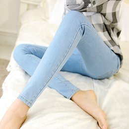 Wholesale Stretch Jeans Leggings For Women - Wholesale- Fashion Skinny Stretch Pencil Jeans Leggings For Women New Slim Woman Tight Blue White Denim Jeans Pants High Quality Big Size