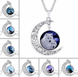 Wholesale Free Rhinestone Patterns - Free shipping Wolf Pattern Moon Time Gemstone Necklace Pendant WFN178 (with chain) mix order 20 pieces a lot
