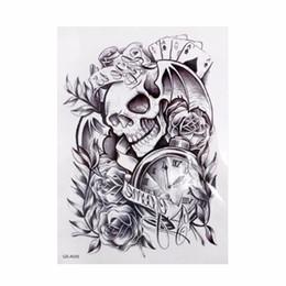 Wholesale Trendy Clocks - Wholesale- one piece Trendy temporary tattoo flower rose clock jewel death pirate skull tattoos stickers for lower arm body art men
