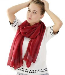 Wholesale Cotton Voile Shawls - 2018 stripe Scarfs For Women Cotton voile Scarves Shawls 12 Colors Christmas Gifts For Ladies WJ30