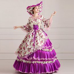 Wholesale Century Free - Free Shipping 2016 Elegant Purple Floral print 18th century Marie Antoinette Ball Gowns Hand made Victorian costumes