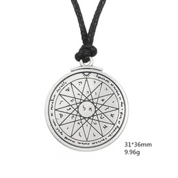 Wholesale Good Seal - Talisman of Wisdom Key of Solomon Pentacle Seal Pendant Kabbalah Wiccan For Good Luck Jewelry Rope Necklace Free Shipping