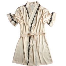 Wholesale Long Satin Nightgowns Women - Silk Bathrobe Women Satin Kimono Robes For Women Robes Bridesmaids Long Kimono Robe Bride Silk Robe Dressing Gown