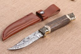 Wholesale Damascus Knife Antler - Limited Edition Sweden Damascus Hunting Knife 58HRC Brass Head&Natural Antlers Handle Knife Collectable Knives with Leather Sheath