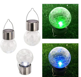 Wholesale led color changing ball - Solar Powered Color Changing outdoor led light ball Crackle Glass LED Light Hang Garden Lawn Lamp Yard Decorate Lamp