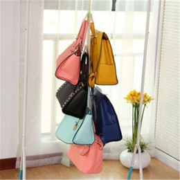 Wholesale Bamboo Layers - 5 Hooks Handbag Bag Purse Holder Shelf Hanger Rack Storage Organizer rear door free shipping